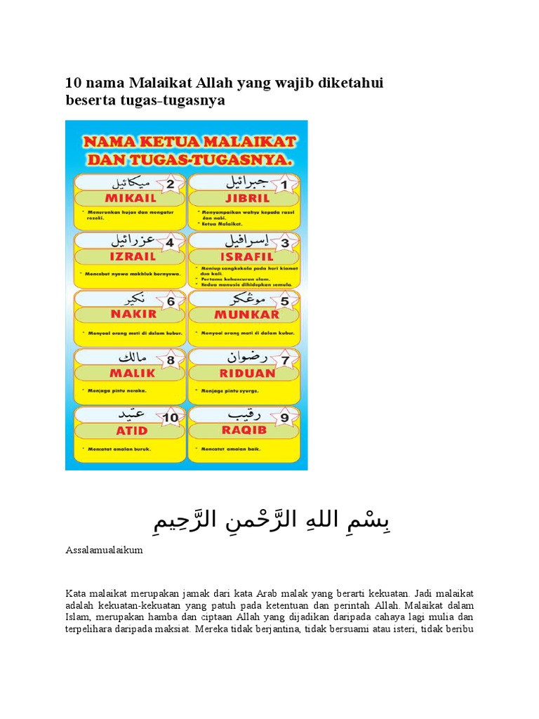 10 Nama Malaikat Allah Yang Wajib Diketahui Beserta Docx