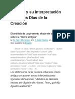 Agustín y su interpretación sobre los Días de la Creación