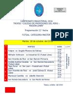 CAMPEONATO MAGISTERIAL 2016 - PROGRAMACIÓN 11° FECHA FUTSAL MASTER