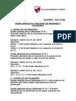 Grado Absoluto y Relativo de Monomio y Polinomio