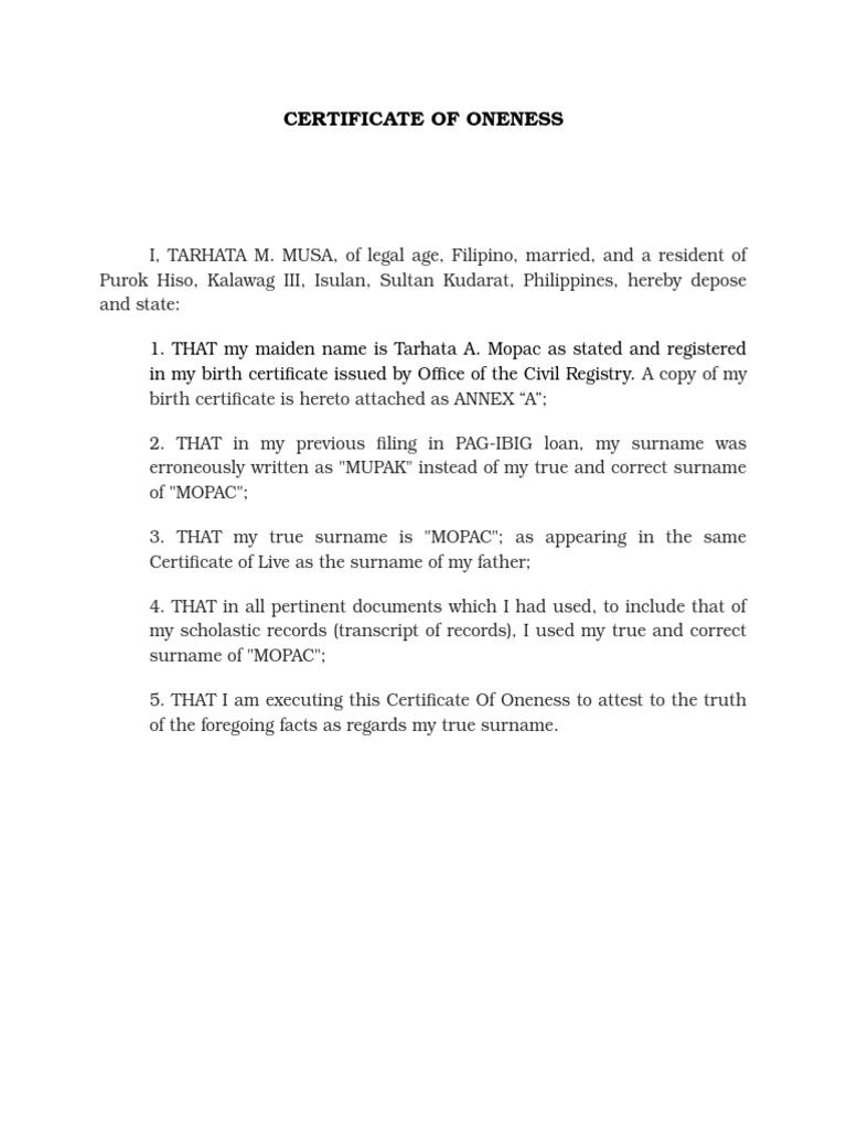 Certificate Of Oneness