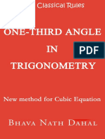 Breaking Classical Rules- One Third Angle in Trigonometry (New method for Cubic Equation)