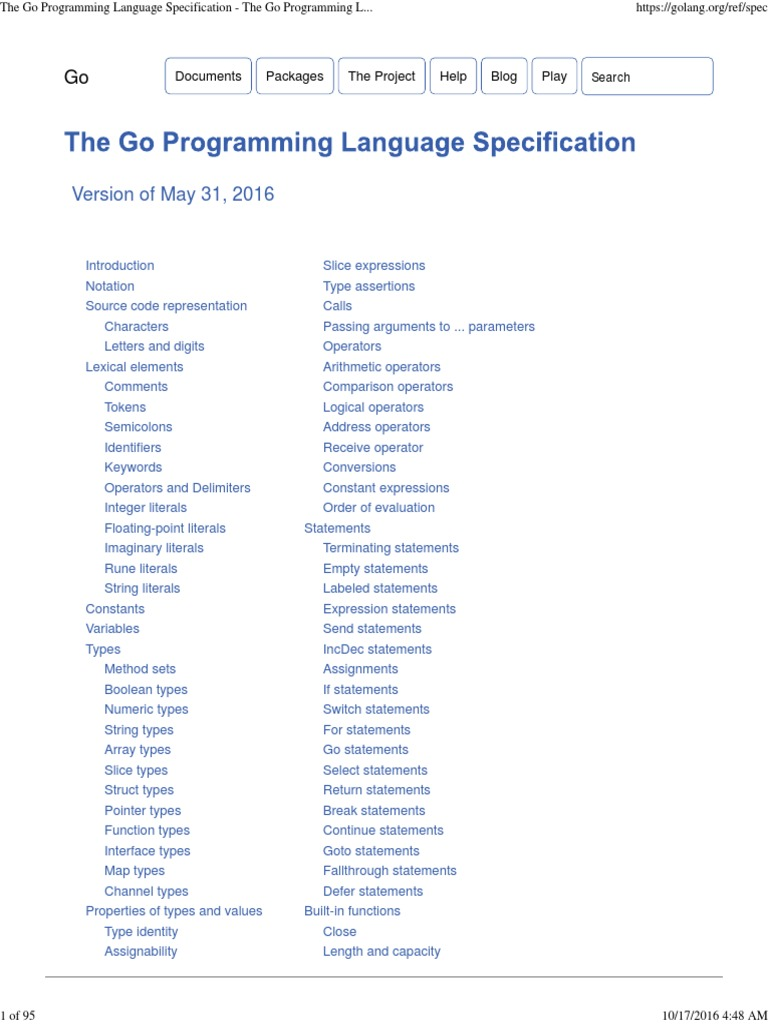 The Go Programming Language Specification - The Go