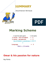 Summary Marking Scheme & Exercise