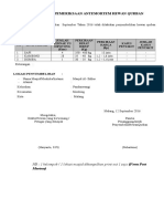 Form Pelaksanaan Qurban 2016- Kelurahan Pandanwangi Kec. Blimbing