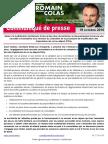 CP - 18 Octobre 2016 - Suite à la mobilisation de Romain Colas et des élus du territoire, le Gouvernement annonce une nouvelle concertation et la révision du calendrier de la procédure de modification des trajectoires de vol au départ d'Orly