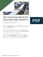 The Technology Behind the Solar Plane Solar Impulse-2