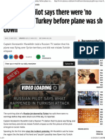 Russian Jet Pilot Says There Were 'No Warnings' by Turkey Before Plane Was Shot Down