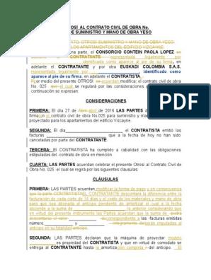 Modelo De Otrosí Al Contrato Civil De Obra No 025 1