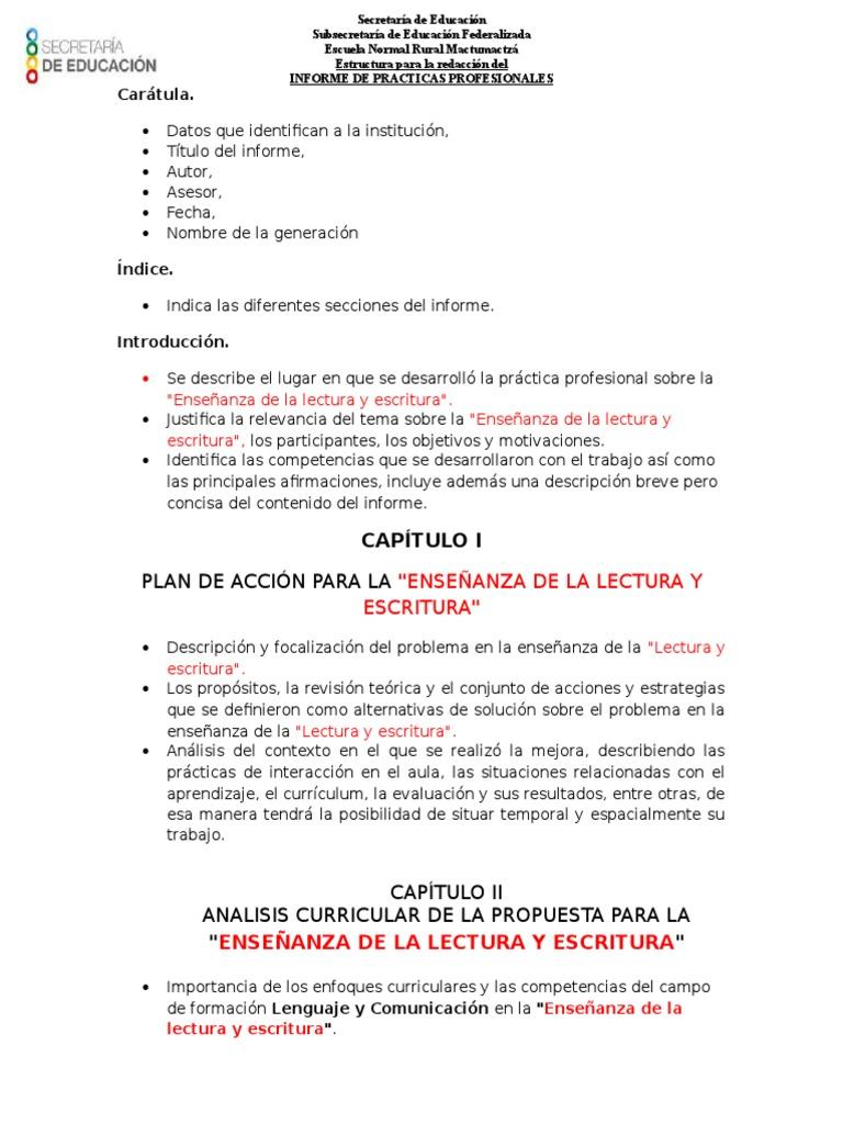 2. Estructura Del Informe de Prácticas Profesionales