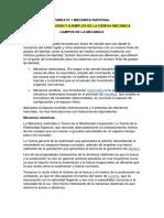 Tarea Nº 1 Mecanica Racional....Campos, Division y Ejemplos de La Ciencia Mecanica