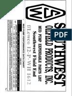 Catalogo Southwest Lewco 12-P-WH 1612