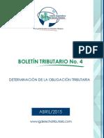Abril Determinacion de La Obligacion Tributar. Boletin