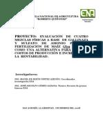 EVALUACIÓN DE CUATRO MEZCLAS FÍSICAS A BASE DE GALLINAZA Y SULFATO DE AMONIO PARA LA FERTILIZACIÓN DE MAÍZ (Zea mays L.) COMO UNA ALTERNATIVA PARA REDUCIR COSTOS DE PRODUCCIÓN E INCREMENTAR LA RENTABILIDAD.