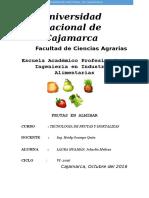 Informe Fruta en Almibar