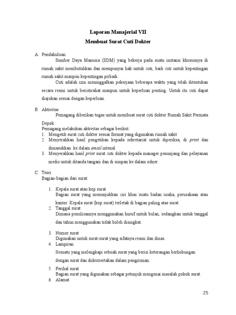 Laporan Manajerial 7 Membuat Surat Cuti Dokter