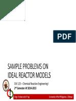 Sample Problems on Ideal Reactor Models