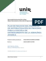 Plan de Negocios Sistematizacion de Procesos Para Escuela de Entrenamiento Avianca