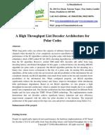 A High Throughput List Decoder Architecture for Polar Codes