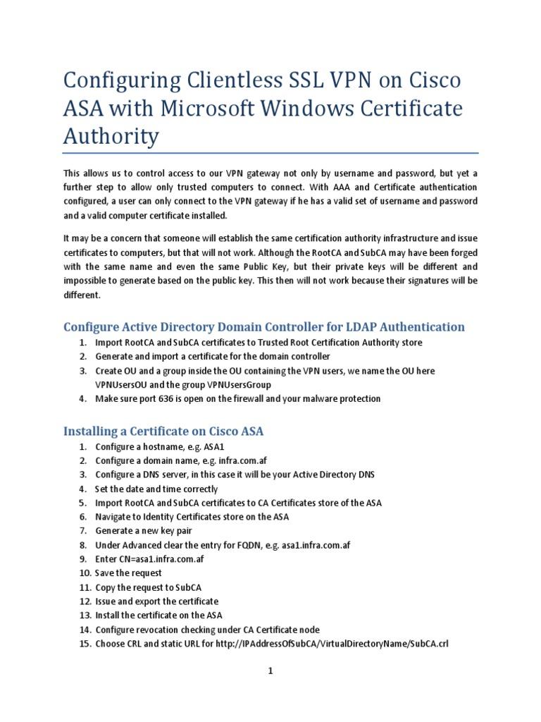 Configuring Clientless Ssl Vpn On Cisco Asa With Microsoft Windows