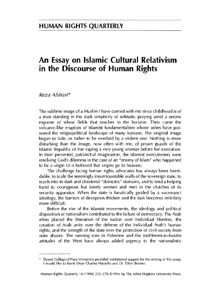 an essay on islamic cultural relativism in the discourse of human an essay on islamic cultural relativism in the discourse of human rights