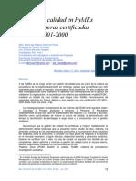 Gestión de Calidad en PYMES Manufactureras Certificadas Con ISO 9001-2000