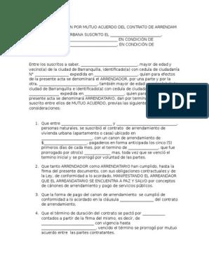 Carta De Terminacion De Contrato De Arrendamiento De