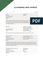 HR Contact Details