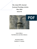 The Asian EFL Journal Professional Teaching Articles May 2016 Issue 92 Senior Editors Paul Robertson and John Adamson