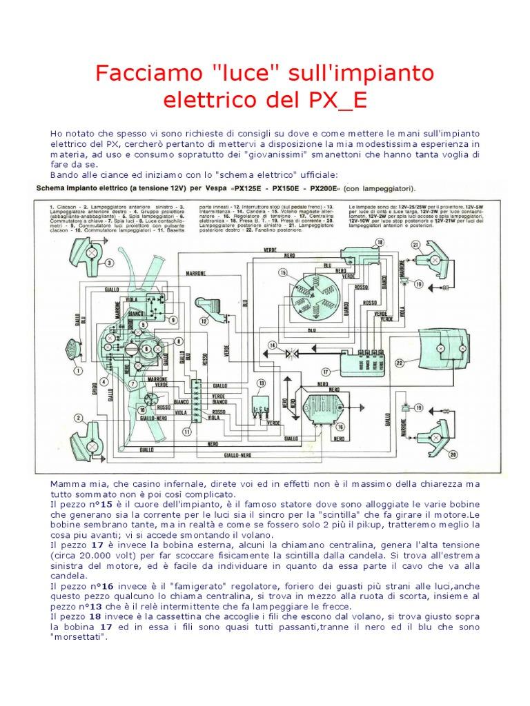 Schema Elettrico Relè Commutatore : Facciamo luce sull impianto elettrico del px e