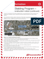 Banyo Stabling Facility July 2016 Construction Notice Continued