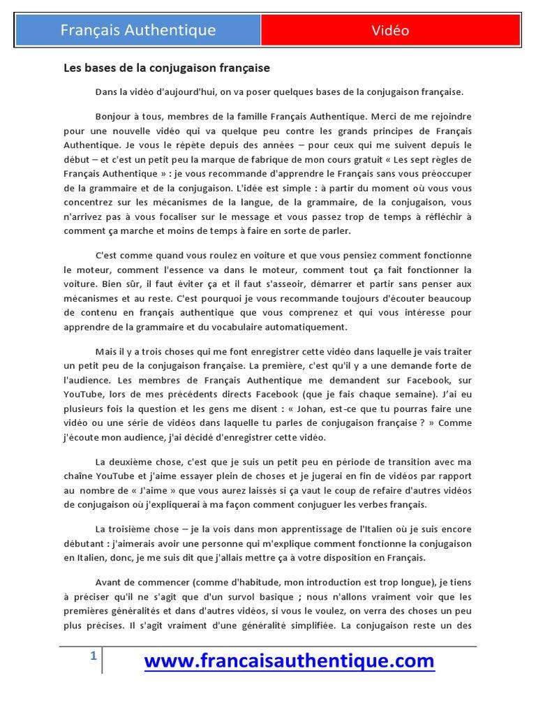 Les Bases De La Conjugaison Francaise Verbe Langue Francaise