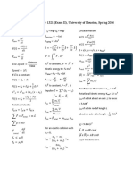 Formula Sheet Test 2 Physics 1321 Spring 2016