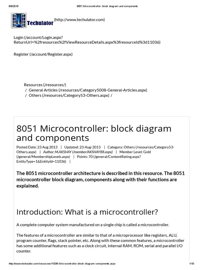 8051 Microcontroller Block Diagram And Components Level 1 Digital Electronics