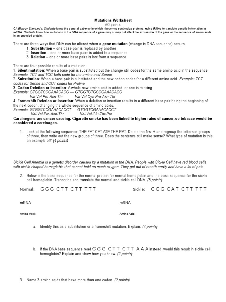 mutations worksheet Genetic Code – Gene Mutation Worksheet