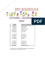 2016 4TH QTR Nursery Schedule