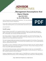 The Portfolio Management Assumptions That Harm Clients