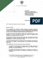 Lettre du maire d'Eckbolsheim au préfet de Région