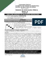 Fundep 2014 Prefeitura de Bela Vista de Minas Mg Professor de Educacao Fisica Prova