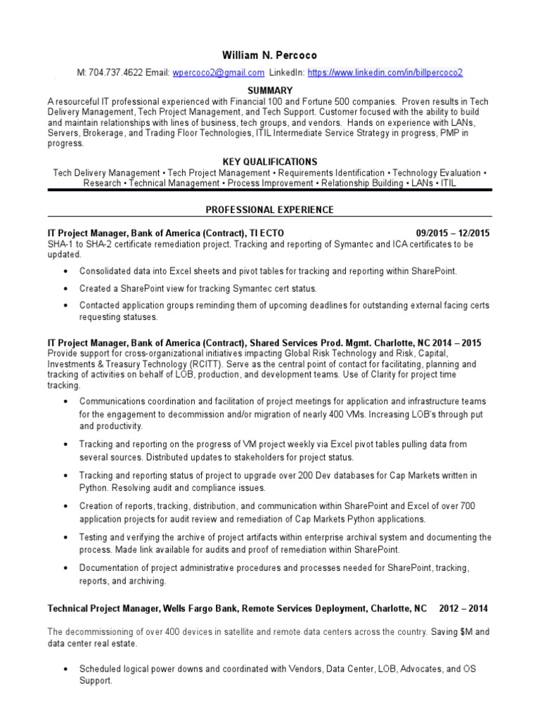 Information Technology Project Manager In Charlotte Nc Resume