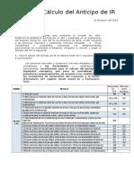 Cálculo Del Anticipo Impto a La Renta 2015