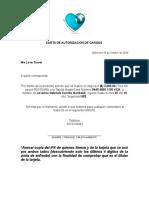 Carta de Autorización de Cargos