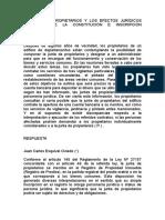 La Junta de Propietarios y Los Efectos Jurídicos Derivados de La Constitución e Inscripción Registral