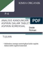 Analisis Kandungan Aspirin Dalam Tablet Aspirin Komersial