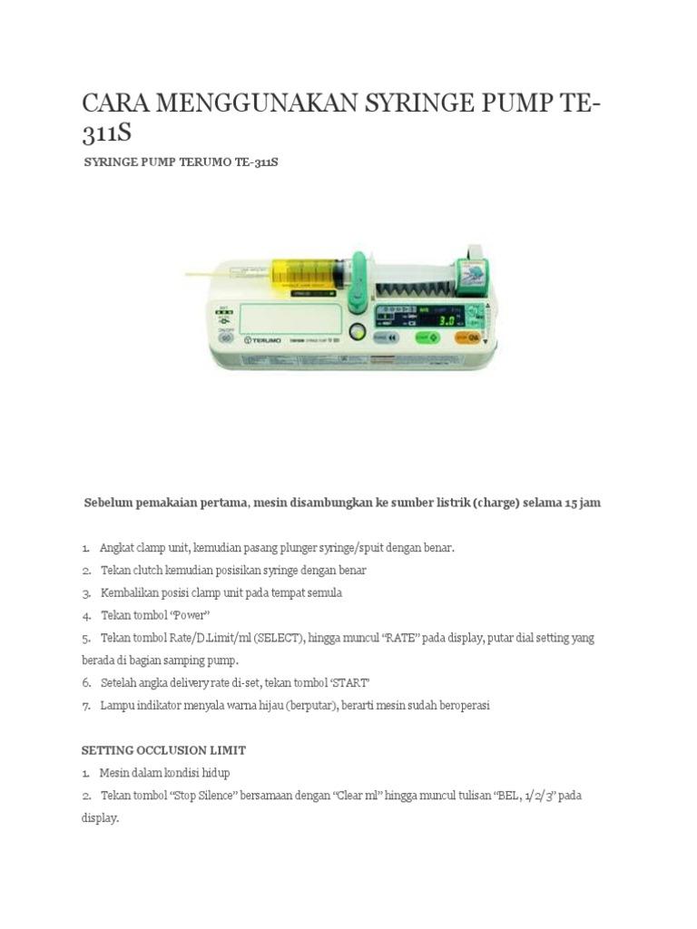 cara menggunakan syringe pump te 311