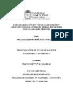 Estandarización de Técnicas de Diseño y Construcción de Muros de Tierra Reforzada Con Llantas de Desecho