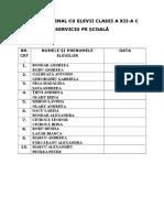 Tabel Elevi Serviciu Pe SCOALA