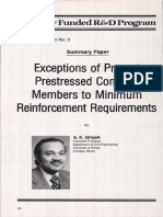 Exceptions of Precast Prestressed Concrete Members to Minimum Reinforcement Requirements