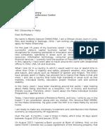 Malta - Cover Letter - 05 Feb 2016