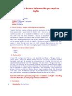 Ejercicio de Lectura Información Personal en Inglés